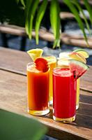 mixed fresh organic fruit juice glasses selection on sunny garden table.