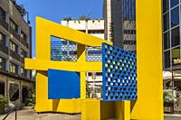 Yellow and blue sculpture in front of Zion House office tower, Rothschild Boulevard, Tel Aviv, Israel.