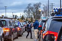 Southfield, Michigan - Cars line up for a Car Top Menorah Parade on the fourth night of Chanukah.