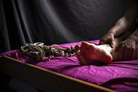 Closeup of bondage on a woman.