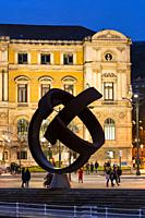 Variante Ovoide sculpture, the work of the Basque sculptor Jorge Oteiza in the Bilbao City Council. City of Bilbao, province of Bizkaia in the Basque ...