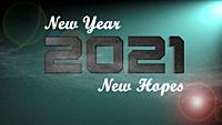 New Year New Hopes Text on Green Background of 2021 New Year Graphic Card