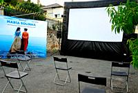 Street Cinema. Maria Solinha in Alcouce square, Seadur, Larouco council, Orense, Spain.