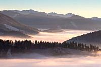 Velka Fatra mountains shrouded in low clouds, Slovakia.