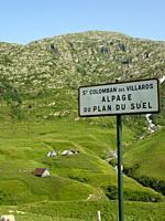 road sign at St. Colomban des Villards in Auvergne, France