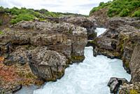 view at Hraunfossar river in Iceland