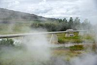 hot water pipelines at Deildartunguhver at Iceland
