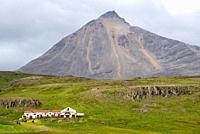 view at Gabrokargigar vulcano and farm at Iceland