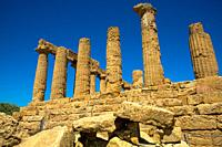 ruin of Temple of Juno at Valley of the Temples in Agrigento, Sicilly, Italy