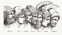 The heroes of Troy. After a work by an unidentified artist in A Pictorial History of the Worldâ. . s Great Nations, published circa 1882.
