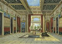 Imaginary restoration of the interior of the house of Sallust, Pompeii, Italy. After a work by an unidentified artist, and perhaps based on watercolou...