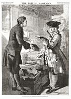 William Hutton selling a customer a book outside his Birmingham shop. William Hutton, 1723 - 1815. English bookseller, poet, historian and travel writ...