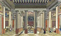Interior of a rich personâ. . s home in Ancient Greece. After a late 19th century work by lithographer Friedrich Gustave Nordmann.