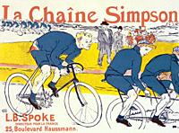 Poster for La Chaîne Simpson, or the Simpson Chain created by French artist Henri de Toulouse-Lautrec in 1896. The Simpson chain was a new type of bic...