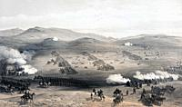 Charge of the Light Cavalry Brigade, 25th October, 1854. After a painting by William Simpson. The failed Charge of the Light Brigade during the Battle...