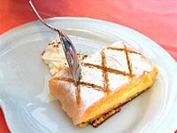 Eating Ponche segoviano, traditional dessert from Segovia. Spain.