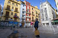 Valencia Spain on December 11, 2020 old town cityscape in Collado square.