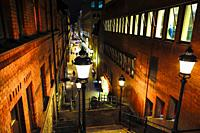 Stockholm, Sweden Steps at night on Tunnelgatan in the downtown.