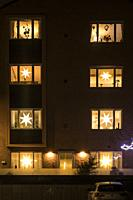 Stockholm, Sweden An apartment building on Lidingo decorated at Christmas.