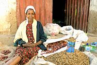 street vendor in harar old town in ethiopia.