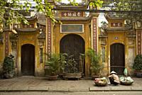 chinese temple in hanoi vietnam street.
