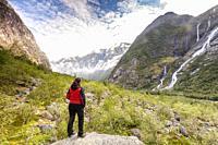 Kjenndalsbreen Glacier in Kjenndalen valley, Stryn, Vestland, Norway.