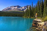 Hiker at Lake O'hara, Yoho National Park, British Columbia, Canada.