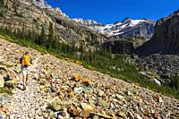 Hiker on the Lake Oesa Trail, Yoho National Park, British Columbia, Canada.