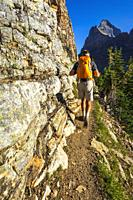 Hiker on the Yukness Ledges Trail above Lake O'hara, Yoho National Park, British Columbia, Canada.