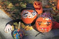 Halloween, decoration, pumpkins,.