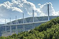 MILLAU AVEYRON FRANCE ON SEPTEMBER 2020: Viaduc de Millau, crossing the Tarn Valley in the Larzac region of France. One of the world s highest bridges...