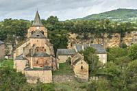 Bozouls medieval castle and town on a canyon South of France, Aveyron Midi Pyrenees on September 24, 2020 nice view of the antique medieval stone buil...