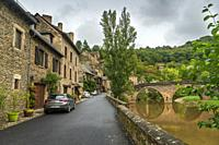 Belcastel medieval castle and town in the south of France, Aveyron Occitania on September 24, 2020 nice view of the antique medieval stone buildings.