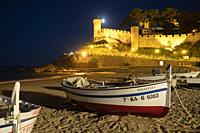 Tossa de Mar town at Costa Brava, Gerona Catalunya Catalonia, Spain on September 2020. Night view of ancient fortress and old town by the Mediterranea...