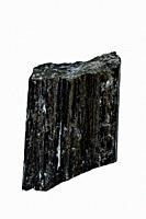 tourmaline, schorl cut out on a white background.