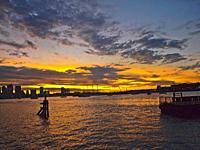 Sunset over Boston Harbor. Boston, Massachusetts.
