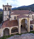 View from a drone of the Church of San Vicente, Guriezo, Cantabria, Spain, Europe.