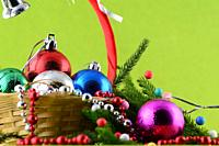 Christmas Decoration: Christmas ball and ornaments with the branch of Christmas tree.