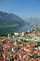 view of kotor town and bay in montenegro.