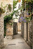 budva old town street in montenegro.