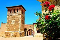 Tower and arch of Santiago in Villalpando, Zamora, Spain.
