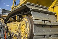 Bulldozer or crawler dozer. Continuous track detail.
