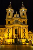 Night time Eger in Hungary.
