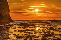 Colorful Sunset Low Tide Pool Marine Garden Haystack Rock Canon Beach Clatsap County Oregon.