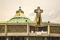 Modern Basilica where Pope Held Mass, Guadalupe Shrine, Mexico City, Mexico. This is the holiest spot in Mexico and Latin America for the Catholic Fai...