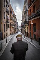 old man in lavapies district. madrid. spain.