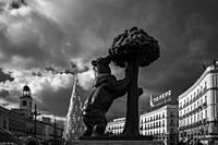 puerta del sol square with the Statue of the Bear and the Strawberry Tree. madrid. spain.