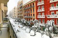 Snowfall. Lope de Rueda street, Madrid, Spain.