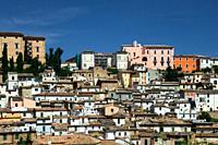 Panoramic view of historic town Loreto Aprutino - town in the Province of Pescara, Abruzzo region, central Italy, Europe.