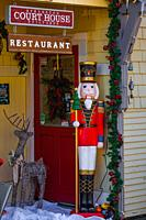 Business entrance decorated in the Christmas style in Steveston Village British Columbia Canada.